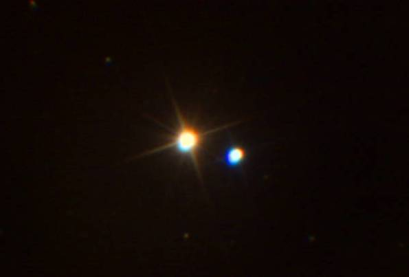 Albireo photographed in a telescope