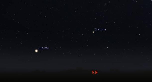 Jupiter and Saturn at 11 pm