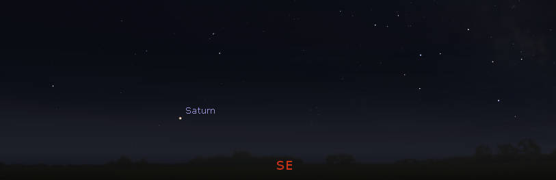 Saturn rising in the southeast