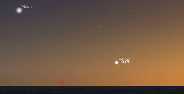 Venus, Mars and the Moon in evening twilight
