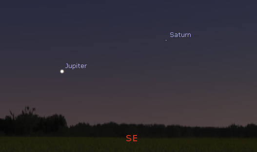 Jupiter and Saturn in the southeast 3 quarters of an hour after sunset