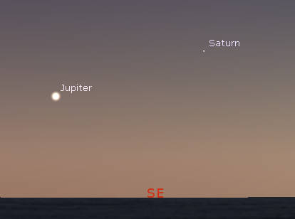 Jupiter and Saturn in the southeast
