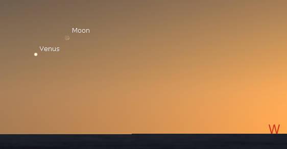 Venus and te Moon in evening twilight