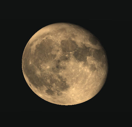 Waning gibbous Moon, 15 minutes after rising