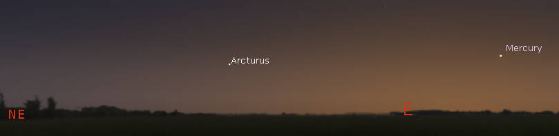 Mercury and Arcturus in the morning twilight